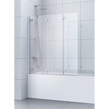 Pare-baignoire 3 volets pivotant pliant verre de sécu transparent SENSEA Charm