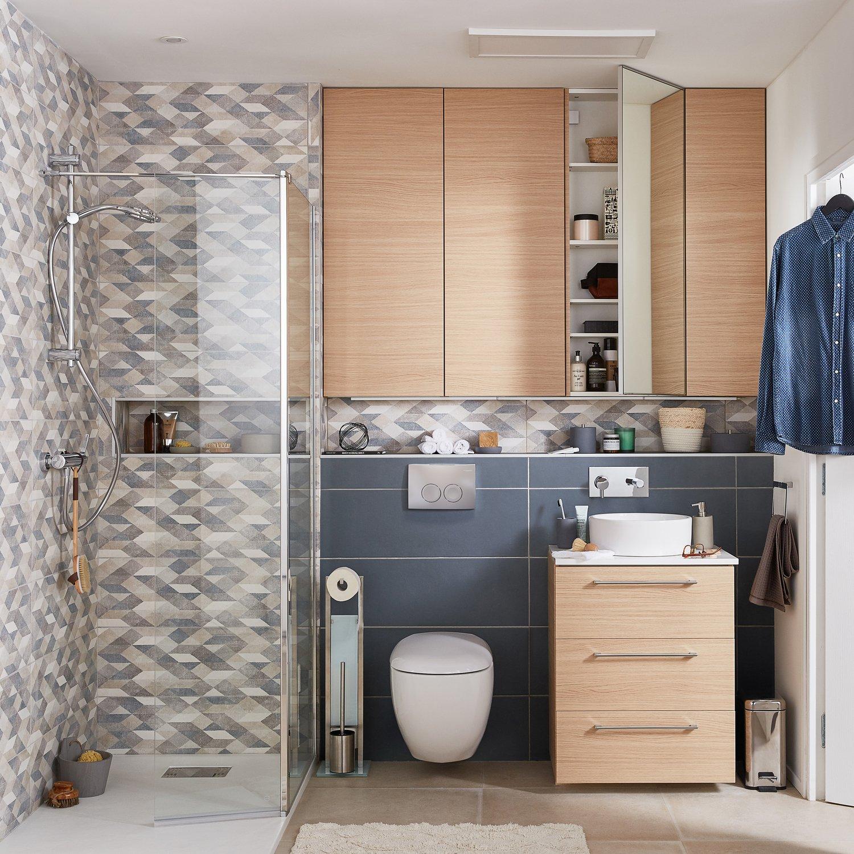 Une salle de bains optimisée et raffinée  Leroy Merlin