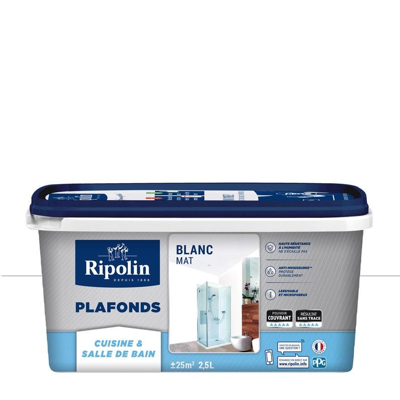Peinture Blanc Plafond Xpro3 Pièces Humides Ripolin Mat 25 L