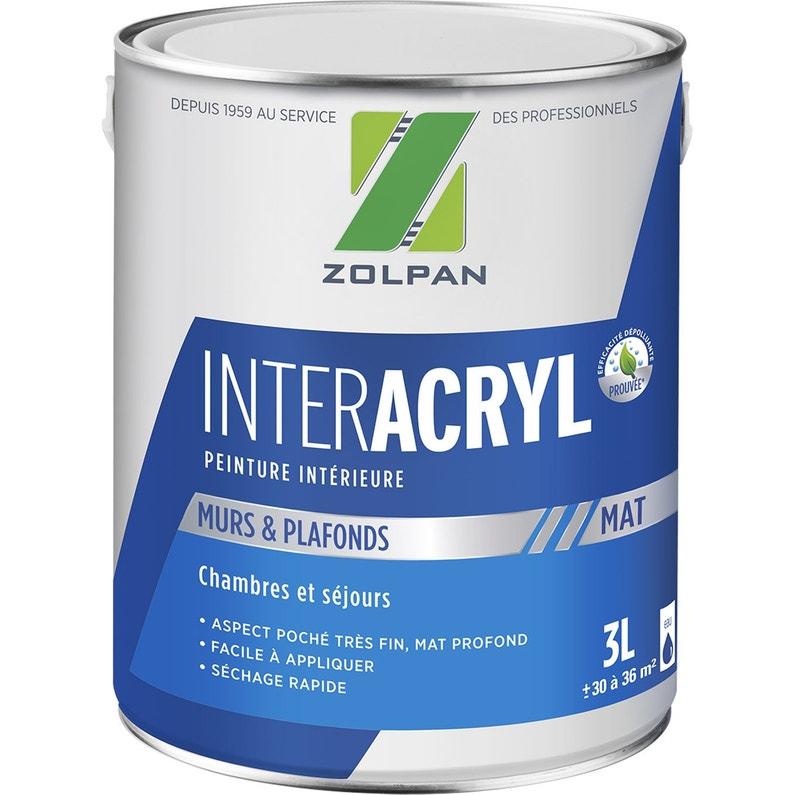 Peinture Zolpan Mur Et Plafond Inter Acrylique Blanc Mat 3 L