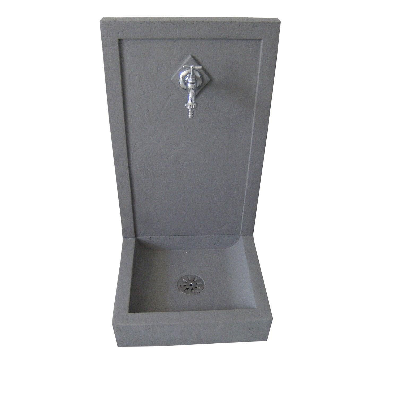 fontaine de jardin en pierre reconstitu e gris avalon g leroy merlin. Black Bedroom Furniture Sets. Home Design Ideas