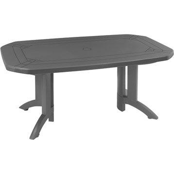 Table de jardin GROSFILLEX Véga rectangulaire anthracite 6 personnes