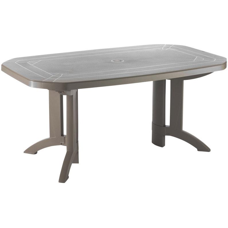 Table De Jardin De Repas Grosfillex Vega Rectangulaire Taupe 6 8
