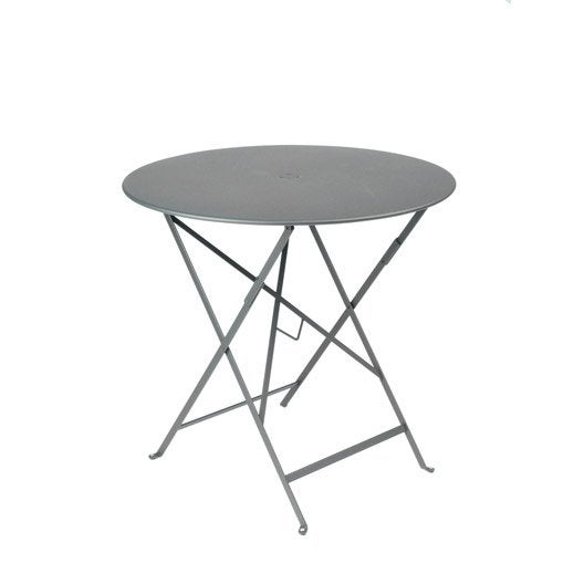 table de jardin fermob bistro ronde gris orage 2 personnes. Black Bedroom Furniture Sets. Home Design Ideas