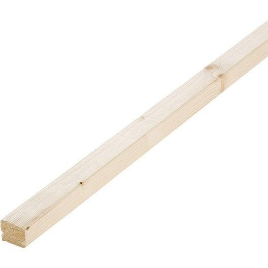 Barre à banc sapin sans noeud raboté, 24 x 29 mm, L.2.4 m