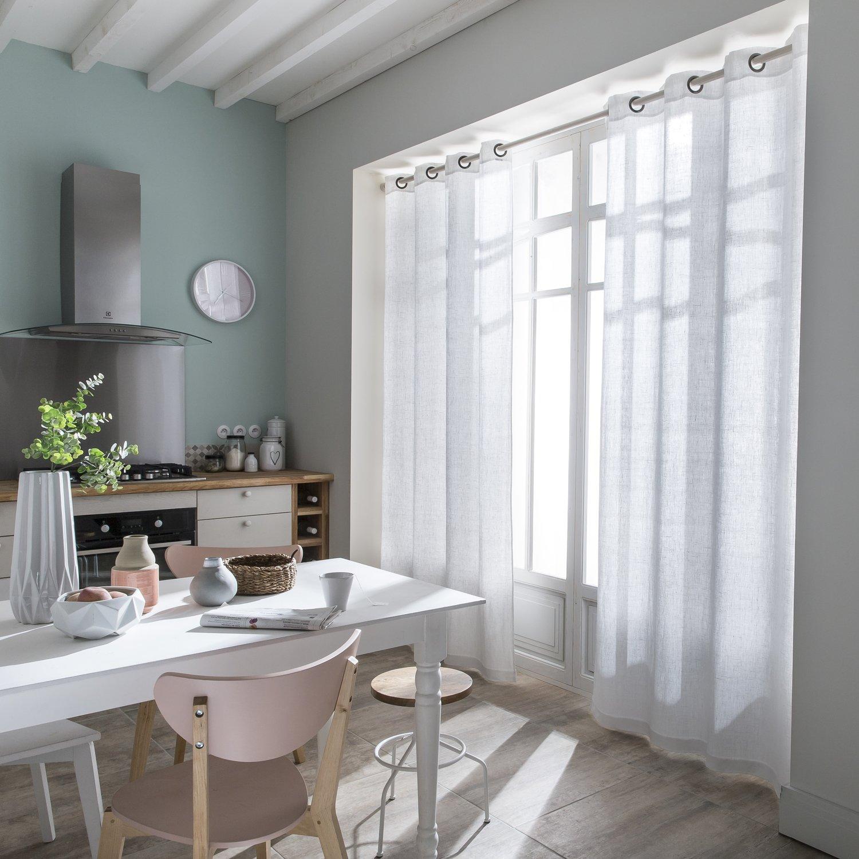 Des rideaux en lin blanc pour la cuisine | Leroy Merlin