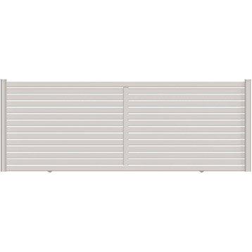 Portail coulissant aluminium Trez blanc NATERIAL, l.400 cm x H.155 cm x H.155 cm