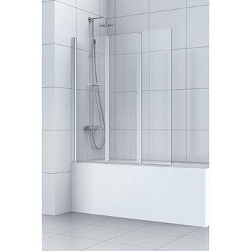 Pare-baignoire 3 volets pivotant pliant verre de sécu transparent SENSEA Remix