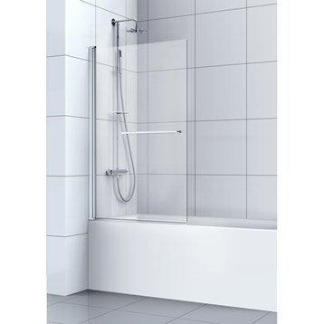 Pare-baignoire 1 volet pivotant verre de sécurité transparent SENSEA Remix