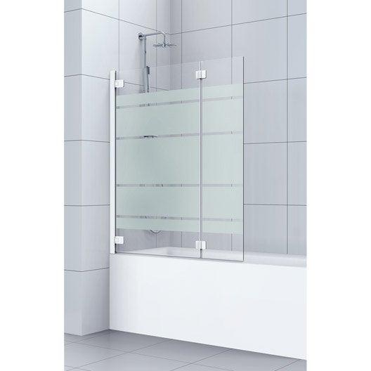 Pare-baignoire 2 volets pivotant pliant 150x120 cm verre sécu sérigraphié Charm
