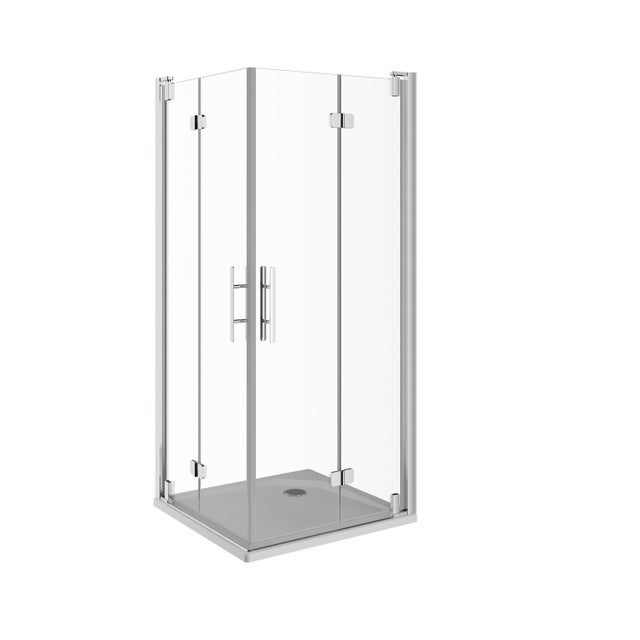 Porte De Douche Pivot Pliante Angle Carré 80 X 80 Cm Transparent Adena