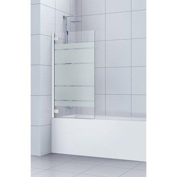 Pare-baignoire 1 volet pivotant verre de sécurité sérigraphié SENSEA Charm