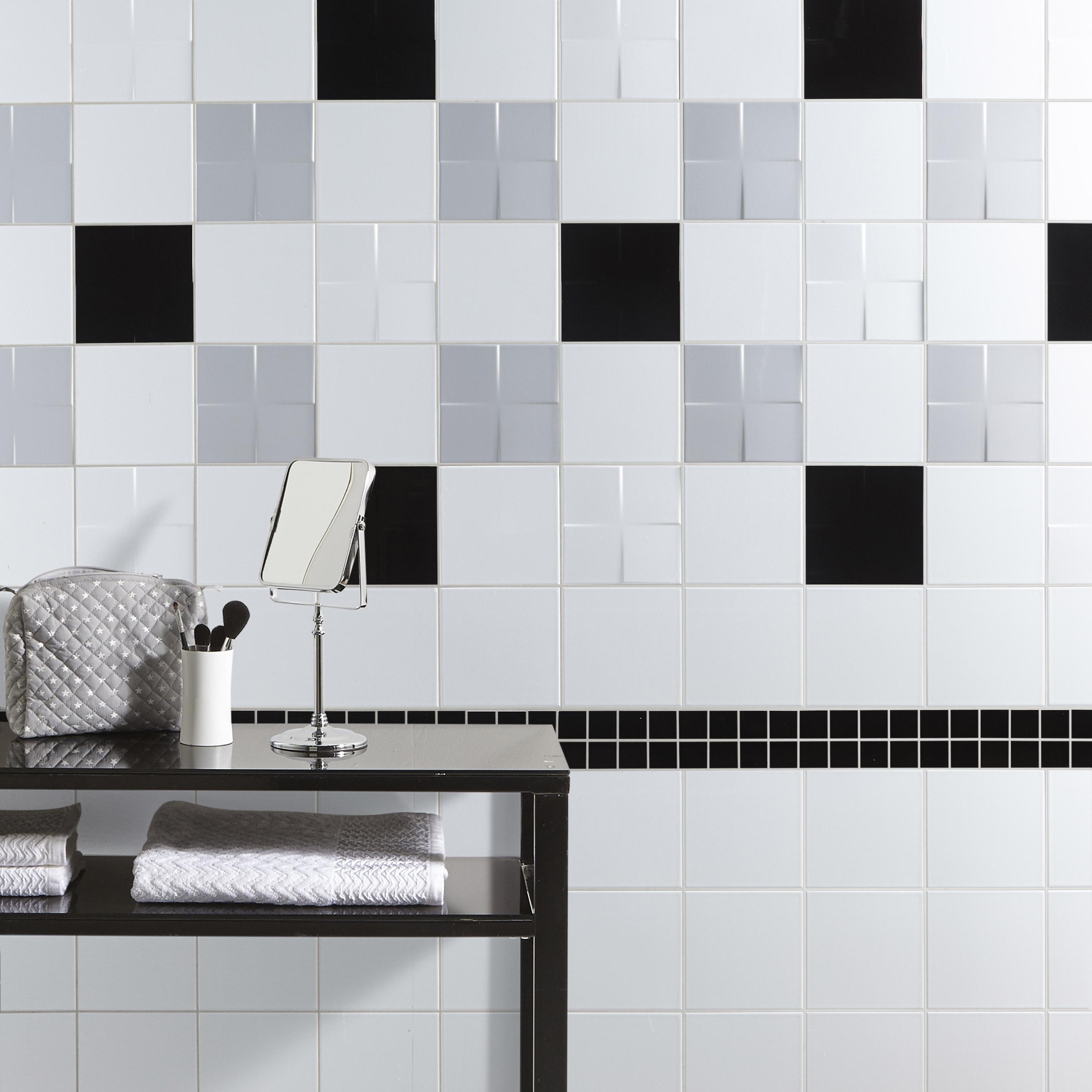 Carrelage mur forte blanc-blanc n°0 brillant l.19.7 x L.19.7 cm, Astuce