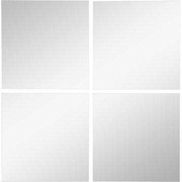 Lot de 4 miroirs non lumineux adhésifs carrés l.15 x L.15.5 cm