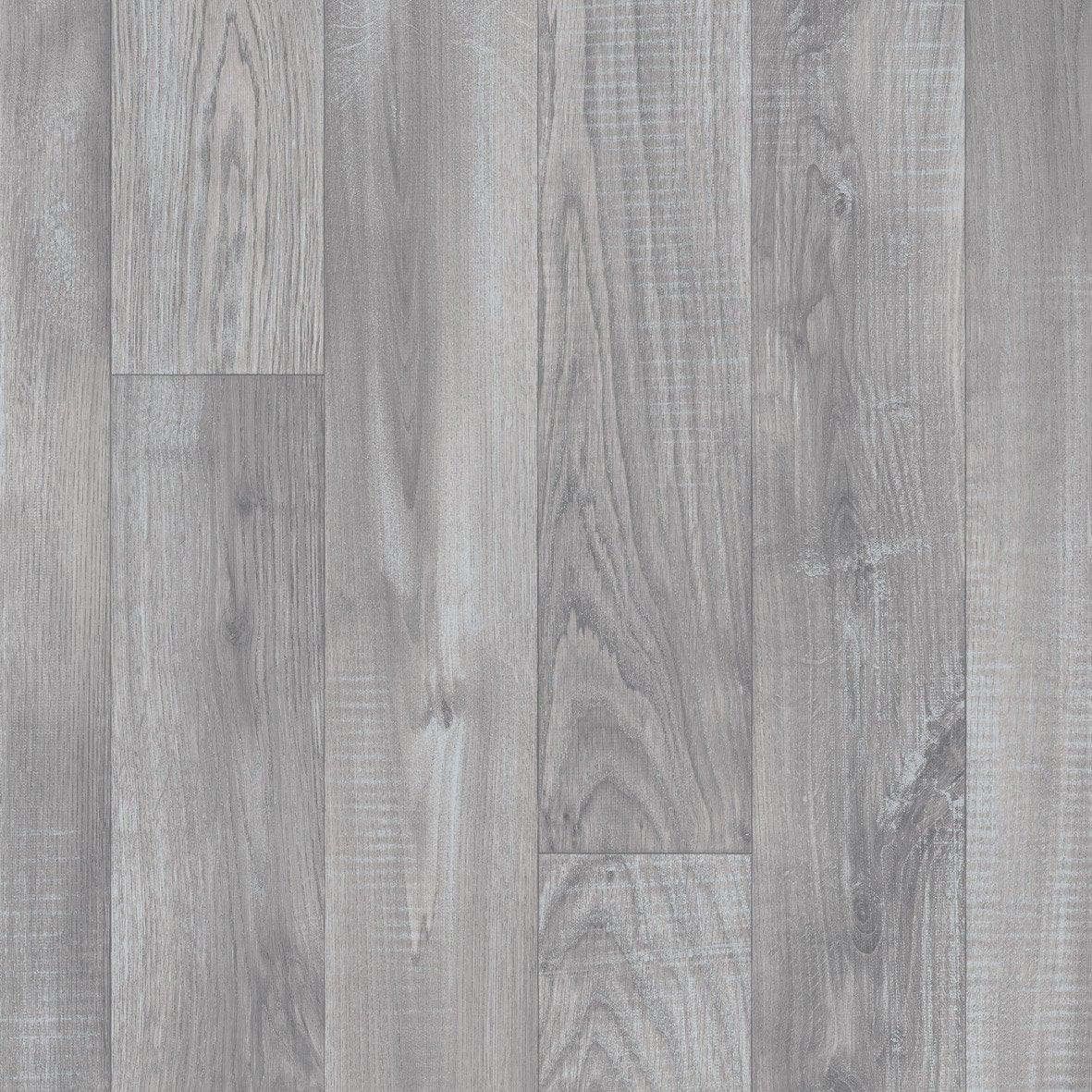 Sol PVC effet parquet gris / argent alba l.4 m