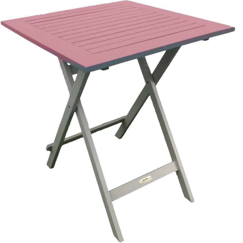 Table de jardin CITY GREEN Burano carrée rose 2 personnes | Leroy Merlin