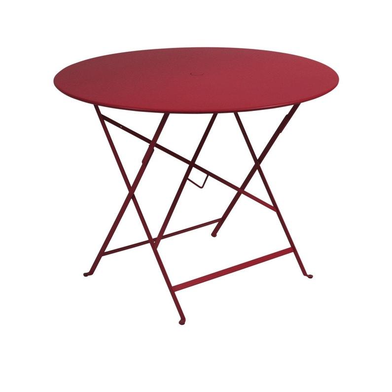 Table de jardin de repas FERMOB Bistro ronde piment 4 personnes