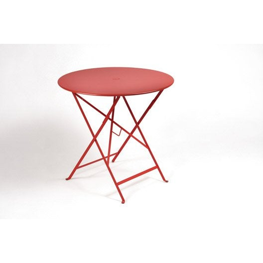 table de jardin fermob bistro ronde coquelicot 2 personnes leroy merlin. Black Bedroom Furniture Sets. Home Design Ideas