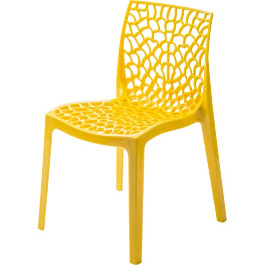 Chaise de jardin en r sine grafik jaune leroy merlin for Chaise salon de jardin couleur