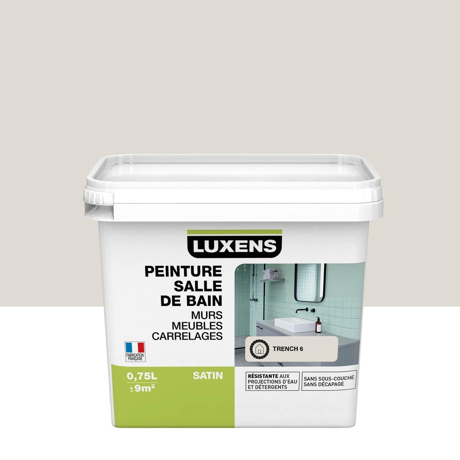 Peinture salle de bain murs, meubles, carrelages LUXENS, trench 6, 0.75 l, satin