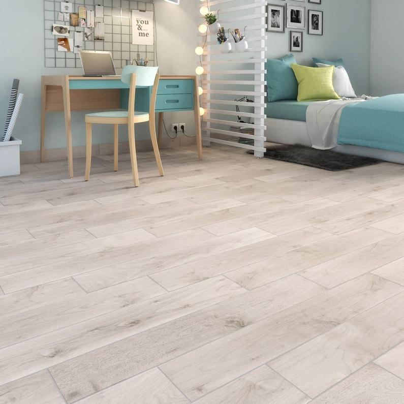 Carrelage Sol Et Mur Blanc Aspect Bois L 15 X L 90 Cm Leroy Merlin