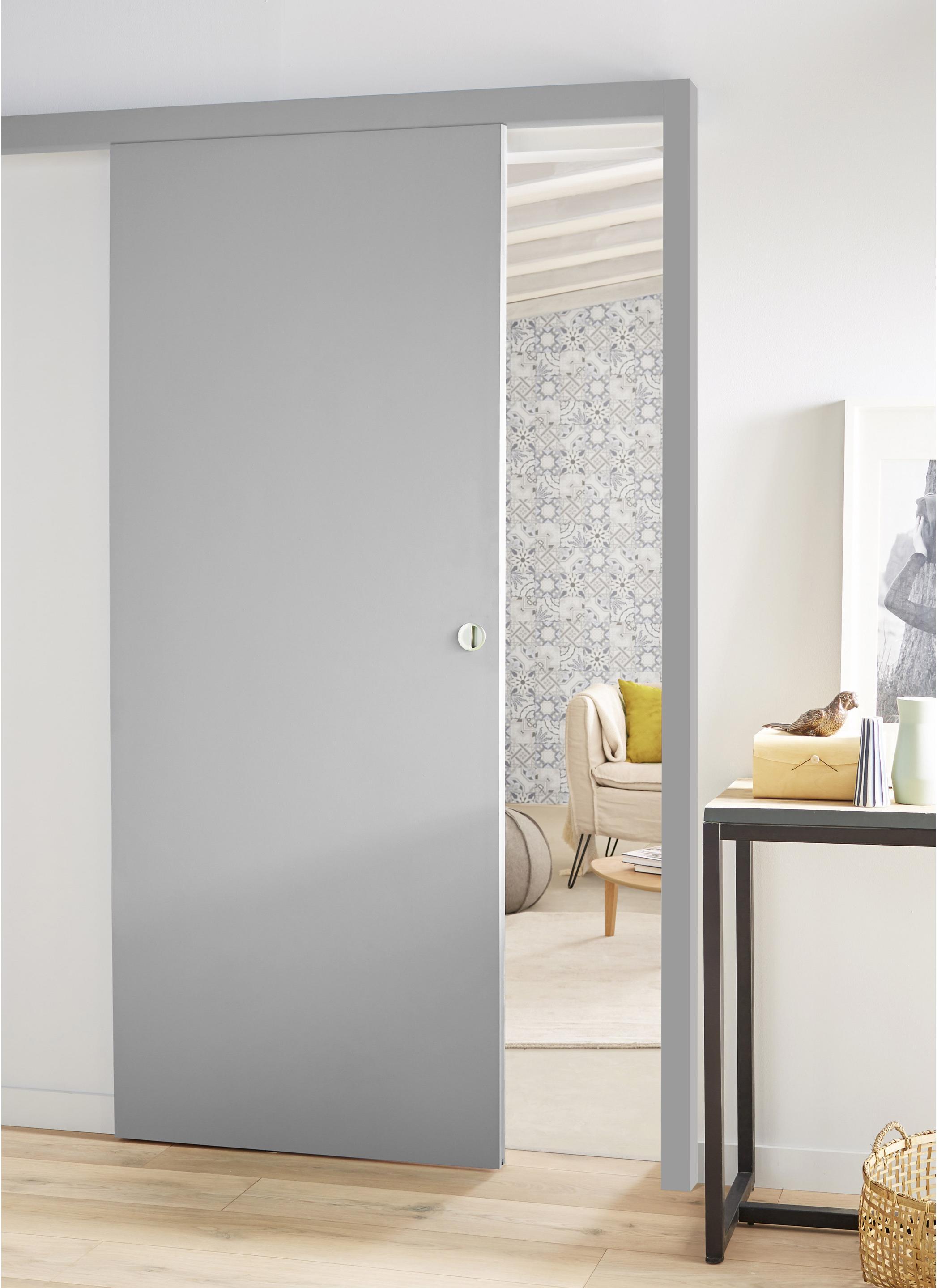 ensemble porte coulissante coulicool mdf rev tu avec le rail en aluminium leroy merlin. Black Bedroom Furniture Sets. Home Design Ideas