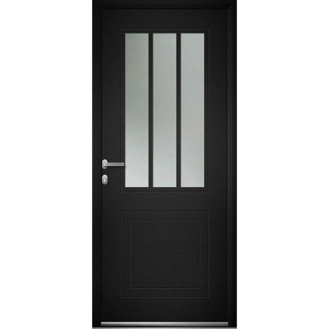 Porte Dentrée Alu Atelier Premium H215 X L90 Cm Vitrée Noir Poussant Droit