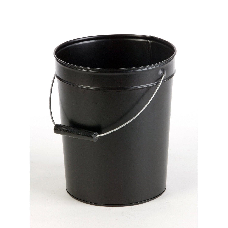 Seau à cendres noir Diam.28 x H.38cm, DIXNEUF Spodite