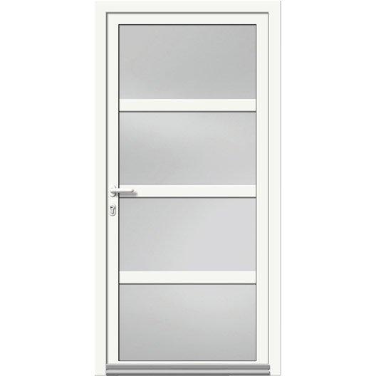 Porte d 39 entr e aluminium nova artens poussant gauche x cm l - Ferme porte leroy merlin ...