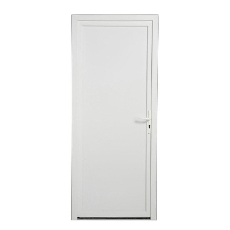 Porte De Service Pvc H 200 X L 80 Cm Pleine Blanc Pd