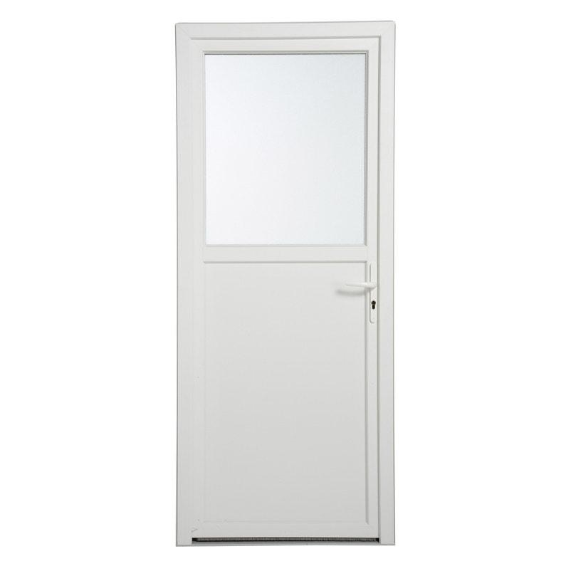 Porte De Service Pvc H200 X L90 Cm Vitrée Blanc Poussant Droit
