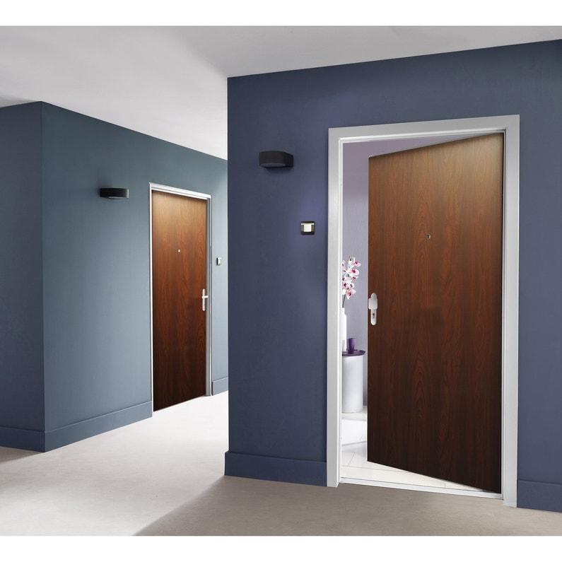 Porte Appartement Acier Avec Placage Bois H205 X L90 Cm Acajou Poussant Droit