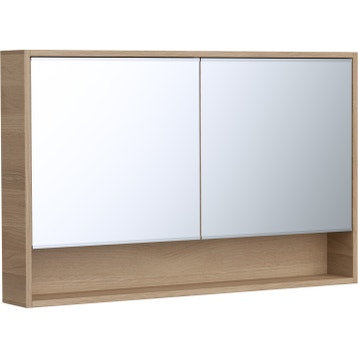 Armoire De Rangement Miroir L 120 Cm Chene Naturel Sensea Natural Leroy Merlin