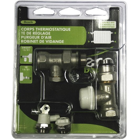 Kit robinet thermostatique droit 15 21 m le femelle laiton nickel ecopro leroy merlin - Robinet thermostatique droit ...