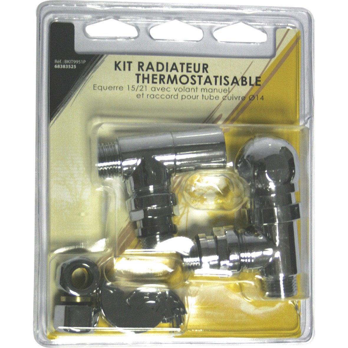Kit robinet thermostatique equerre 15 22 m le femelle - Robinet thermostatique chauffage central ...
