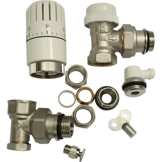 kit robinet thermostatique equerre 15/21 mâle / femelle laiton ... - Robinet Thermostatique Seche Serviette