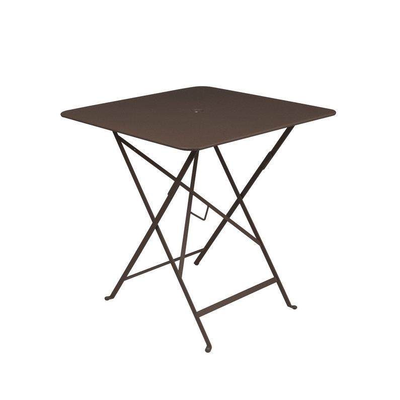 Table de jardin de repas FERMOB Bistro carrée rouille 2 personnes