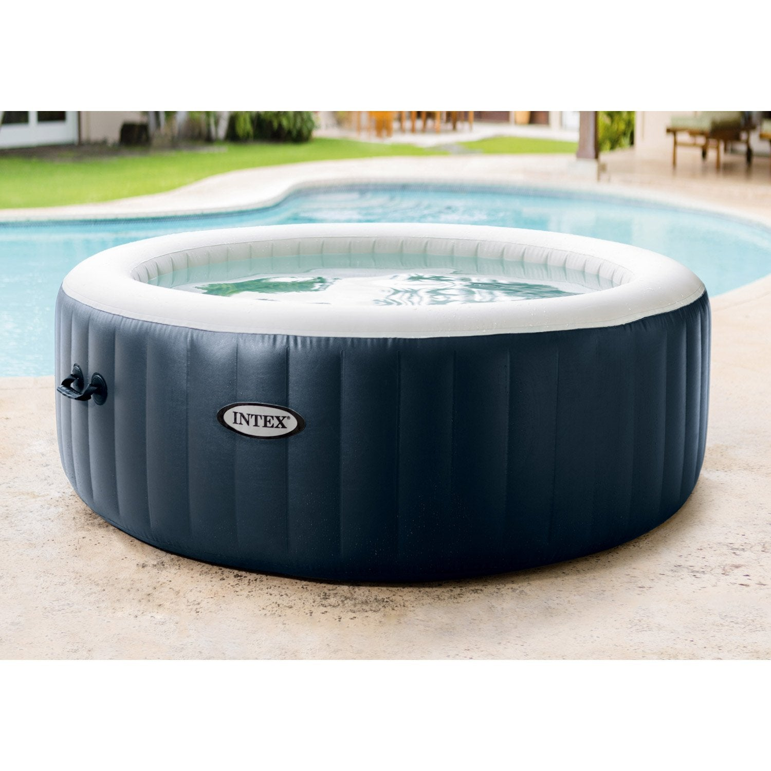 spa gonflable intex purespa bulles blue navy rond 6 places assises leroy merlin. Black Bedroom Furniture Sets. Home Design Ideas