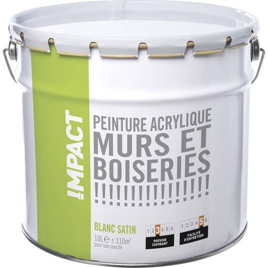 peinture blanche mur et boiserie impact satin 10 l. Black Bedroom Furniture Sets. Home Design Ideas