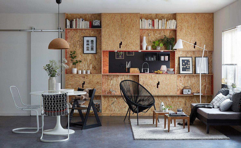 la d co du salon en panneaux osb leroy merlin. Black Bedroom Furniture Sets. Home Design Ideas