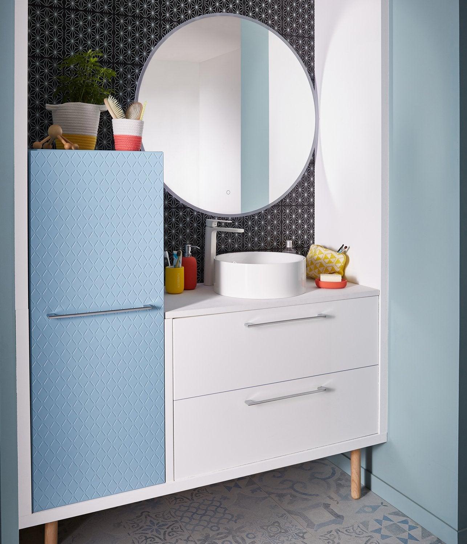 Combiner meuble vasque blanc et armoire bleue | Leroy Merlin