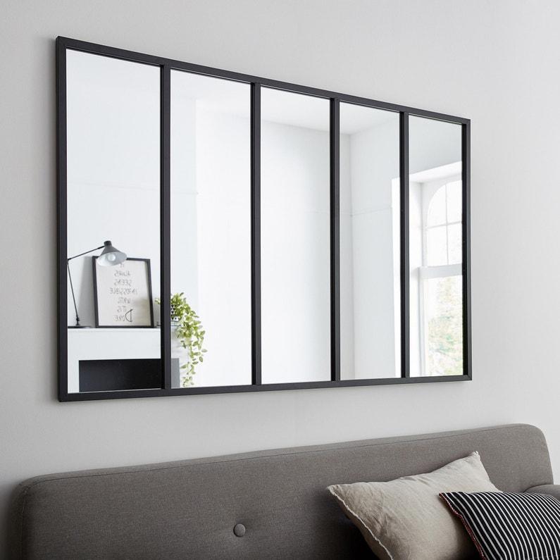 Miroir Rectangulaire Atelier Jardin Noir L 136 X H 86 Cm Leroy