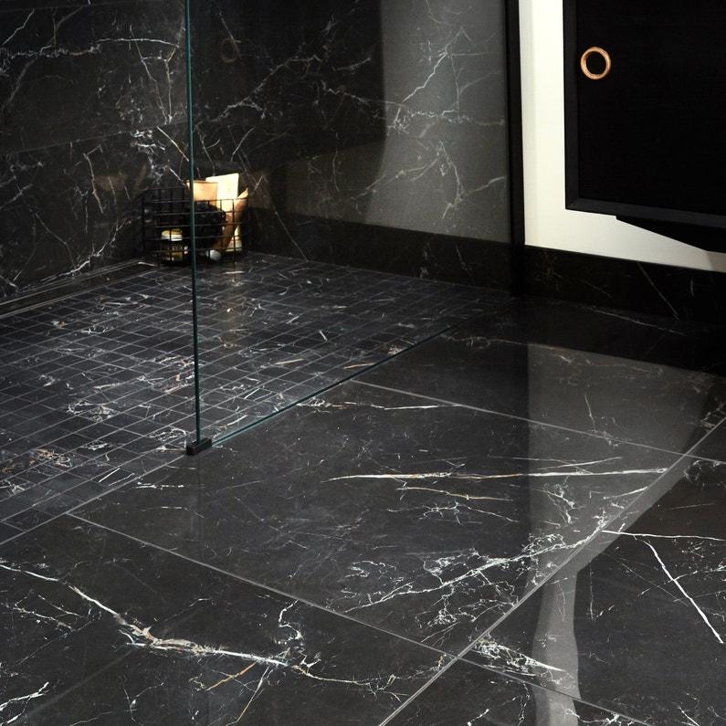 Carrelage Sol Et Mur Intenso Effet Marbre Gold Noir Murano L 60 X L 60 Cm