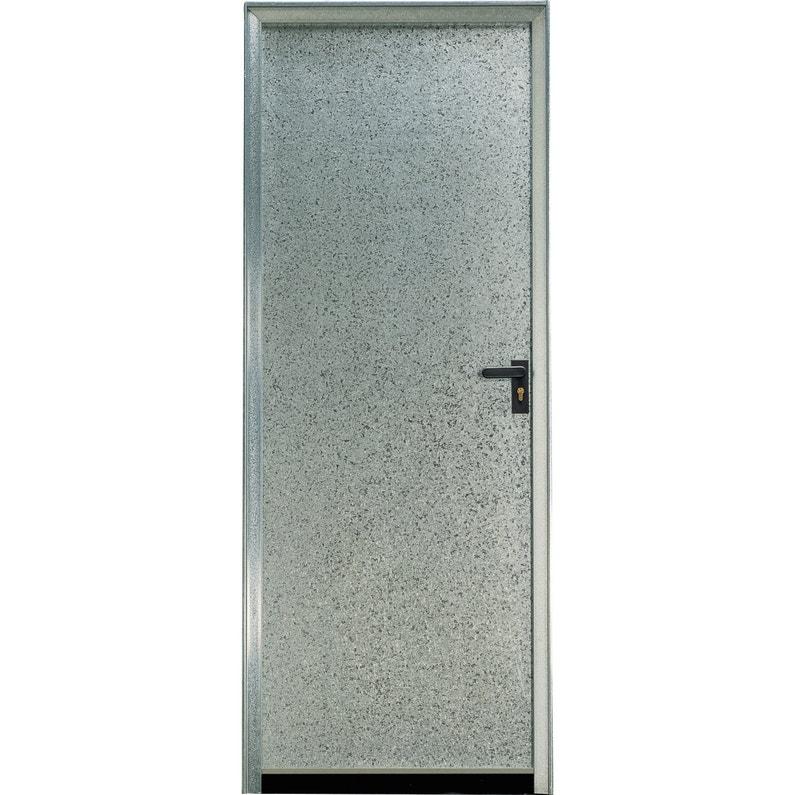 Porte De Service Acier H200 X L89 Cm Pleine Galvanisé