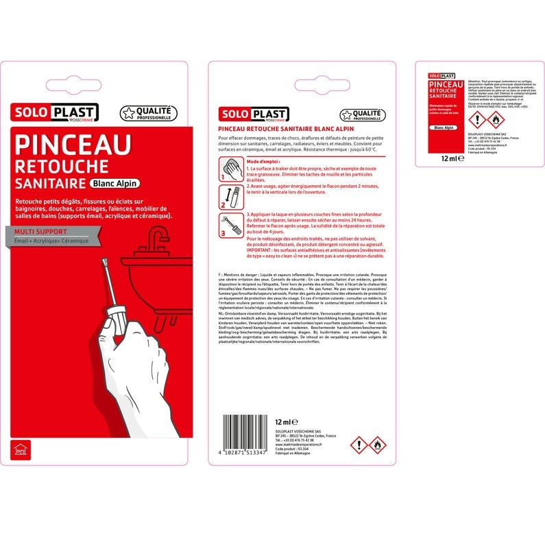 Pinceau De Retouche émail Sanitaire Soloplast Blanc 0 012 L