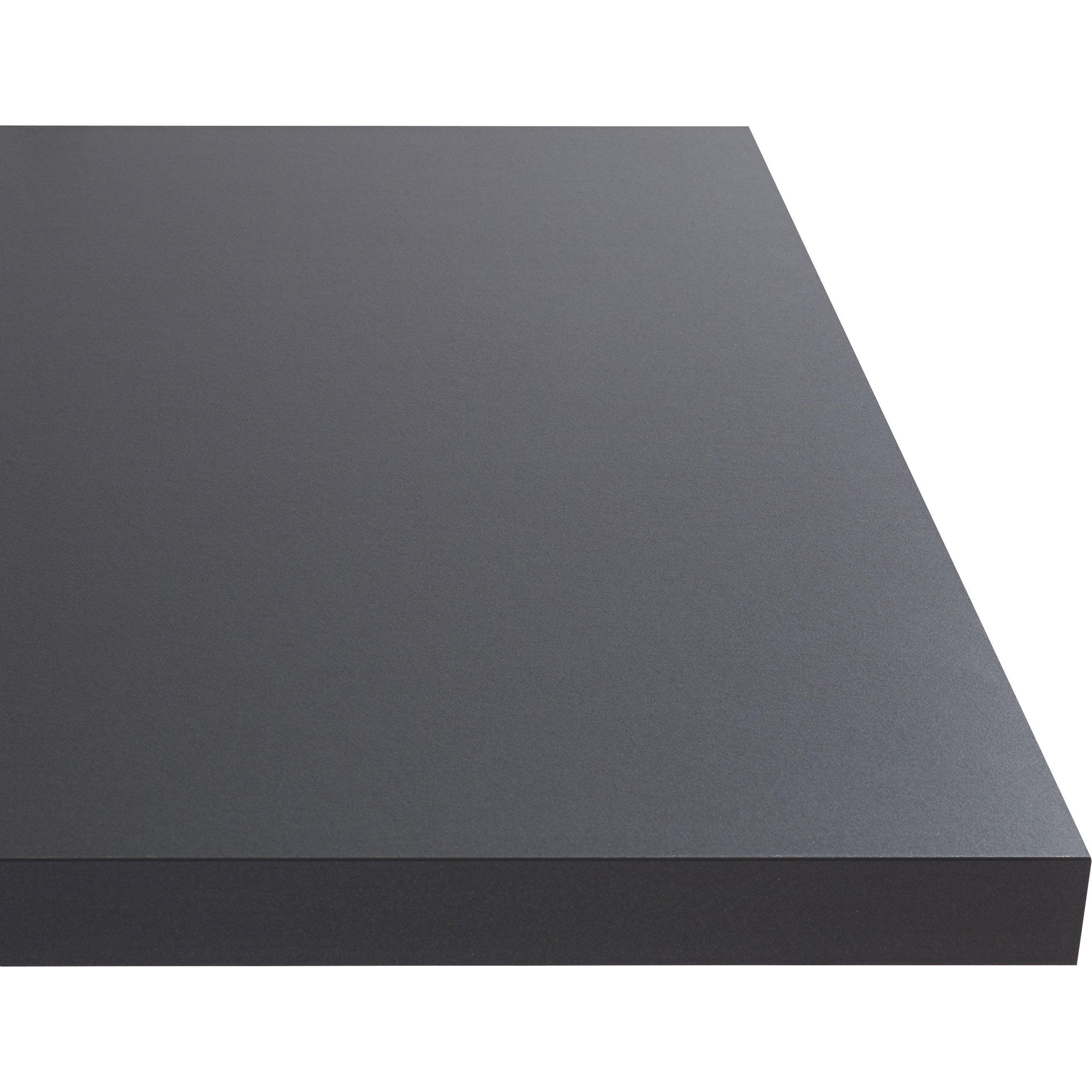 Plan de travail stratifié Effet métal anthracite Mat L.300 x P.65 cm, Ep.38 mm
