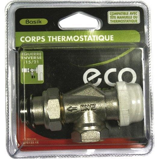 Corps thermostatique equerre invers e 15 21 m le femelle - Robinet thermostatique equerre inversee ...