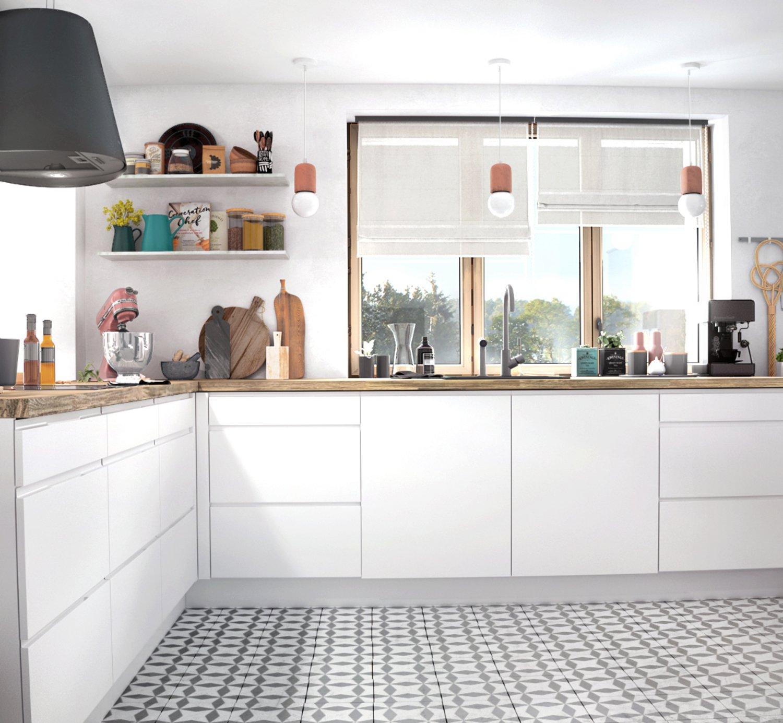 Une cuisine blanche ouverte sur le salon leroy merlin - Cuisine blanche ouverte sur salon ...