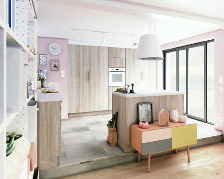 Une cuisine avec une façade bois qui donne le ton