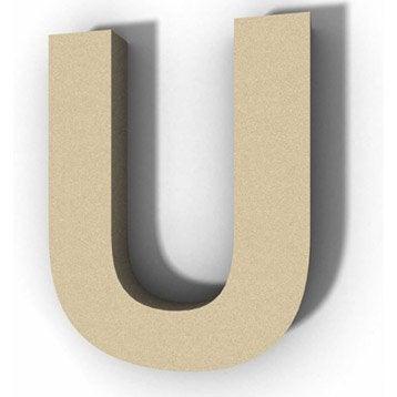 Lettre bois Majuscule u 12 cm x 12 cm